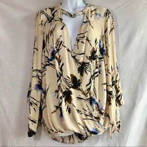 ODDY top blouse snap closure crepe rayon size L